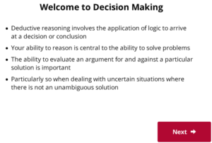 UCAT Welcome to Decision Making