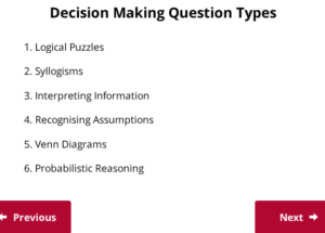 UCAT Welcome to Decision Making Question Types